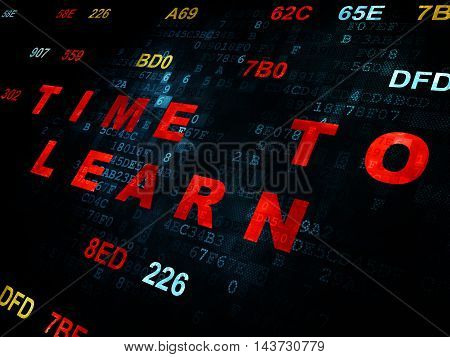 Time concept: Pixelated red text Time to Learn on Digital wall background with Hexadecimal Code