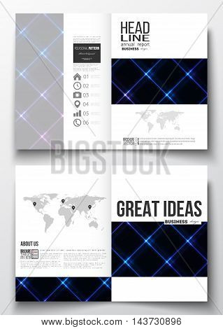 Set of business templates for brochure, magazine, flyer, booklet or annual report. Abstract polygonal background, modern stylish square vector texture.