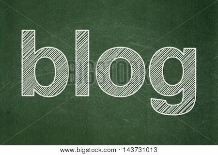 Web design concept: text Blog on Green chalkboard background