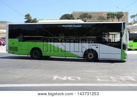 VALLETTA, MALTA - AUGUST 02 2016: A new Malta Public Transport Bus parked. The bus fleet extends to more than 170 buses.