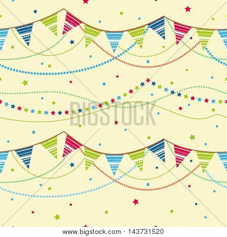 Party pennant bunting. Party seamless background. Party pennant bunting. Seamless background.
