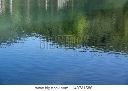 Shot of lake scenic in summer. Blurred nature unfocused background. Lake and forest.