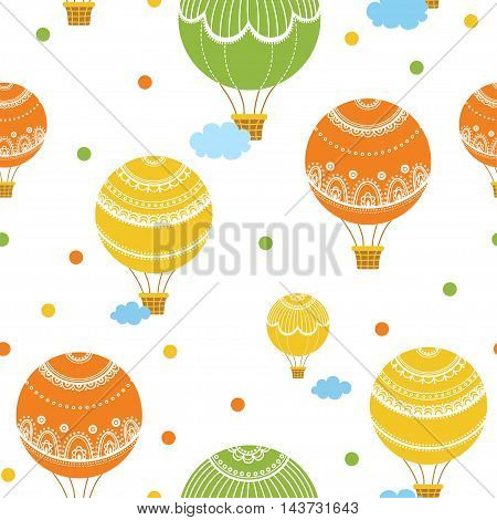 Background with hot air balloons. Vector illustration of colorful hot air balloons.
