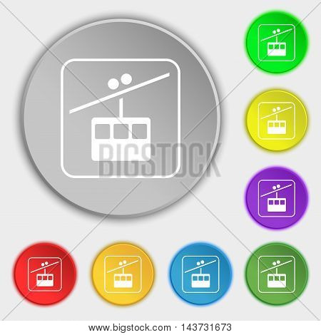 Cable Car Line Icon Sign. Symbol On Eight Flat Buttons. Vector