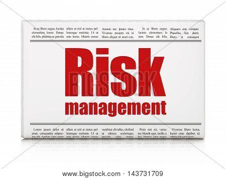 Business concept: newspaper headline Risk Management on White background, 3D rendering