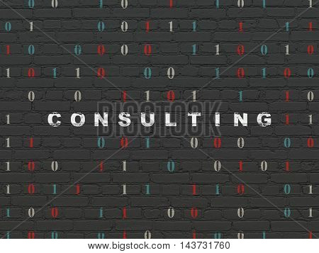Finance concept: Painted white text Consulting on Black Brick wall background with Binary Code