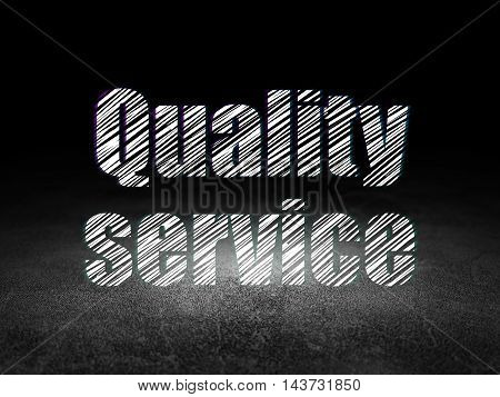 Finance concept: Glowing text Quality Service in grunge dark room with Dirty Floor, black background