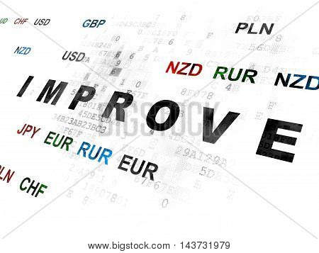 Business concept: Pixelated black text Improve on Digital wall background with Currency