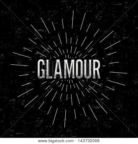 Abstract creative vector design layout with text - glamour. Vintage concept background, art template, retro elements, logo, labels, layout, badge, old banner, card. Hand made typography word.