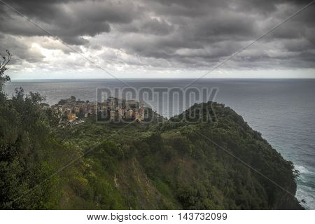 View To Corniglia Village In Liguria