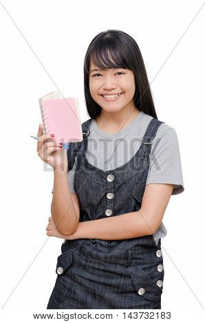 Young asian girl reading book over white
