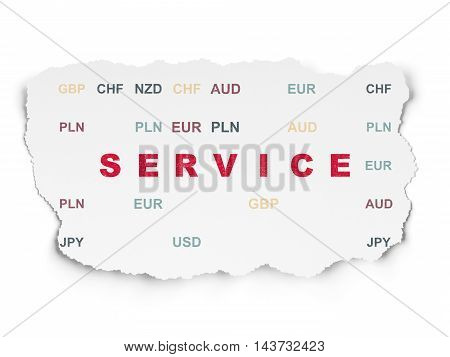 Finance concept: Painted red text Service on Torn Paper background with  Currency