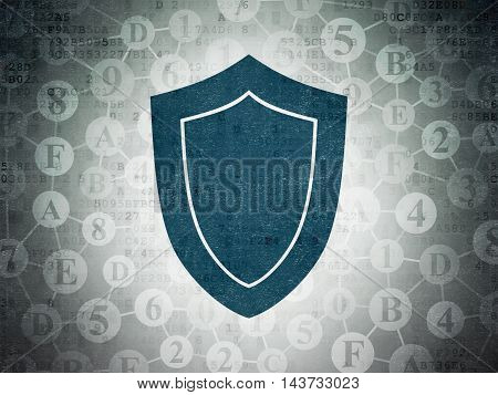 Privacy concept: Painted blue Shield icon on Digital Data Paper background with Scheme Of Hexadecimal Code