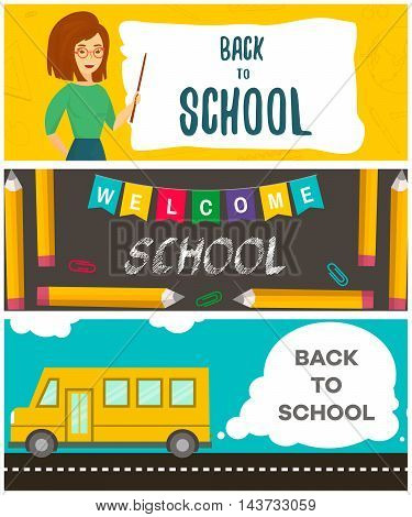 Set of back to school flyers. Template for back to school sale. Vector illustration