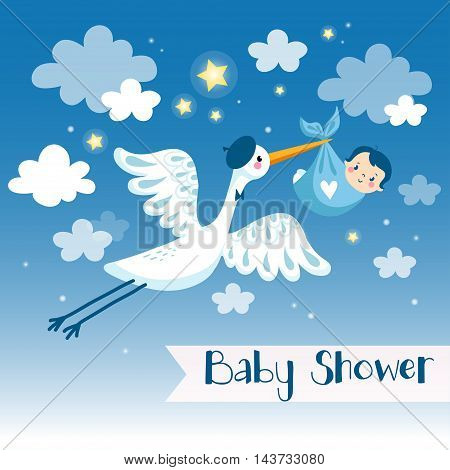 Cartoon vector baby background. Baby boy shower invitation card with stork.