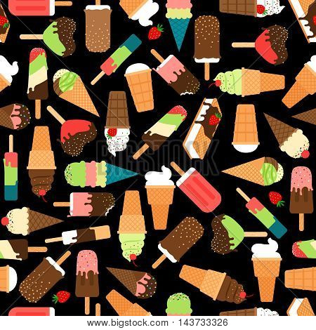 Ice cream seamless pattern. Waffle icecream cone and popsicle sweet background. Vector illustration