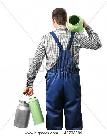 Milkman with watering cans on white background