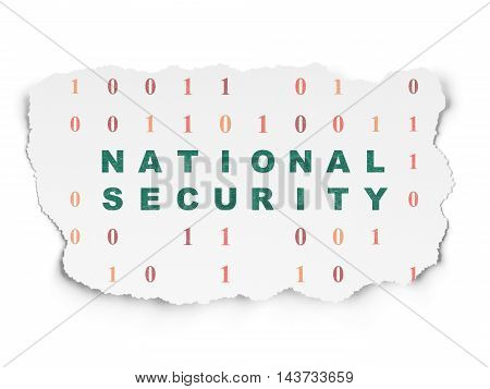 Privacy concept: Painted green text National Security on Torn Paper background with  Binary Code
