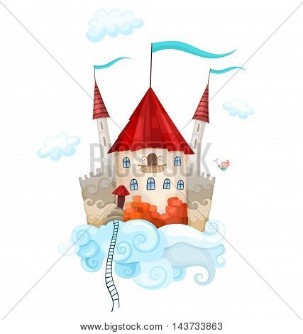 vector illustration with a beautiful colorful castle in the sky