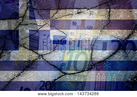 Greek flag, Euros, cracks and thermometer - Finance concept