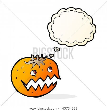 cartoon pumpkin with thought bubble