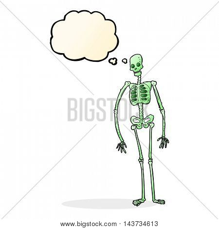 cartoon spooky skeleton with thought bubble