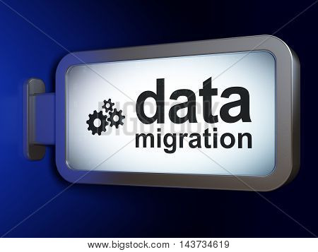 Data concept: Data Migration and Gears on advertising billboard background, 3D rendering