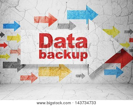 Data concept:  arrow with Data Backup on grunge textured concrete wall background, 3D rendering