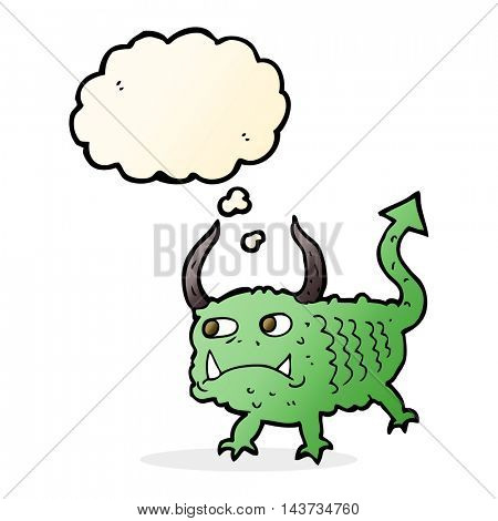cartoon little demon with thought bubble