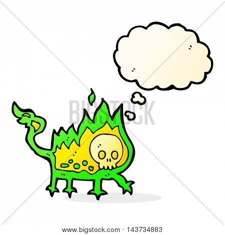 cartoon little fire demon with thought bubble