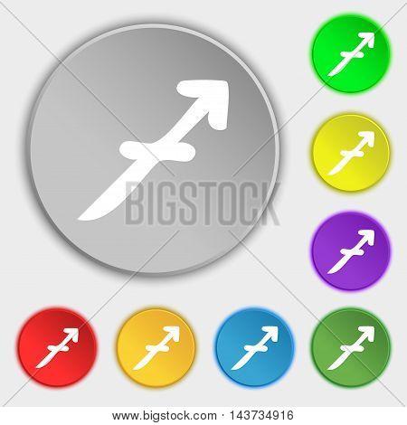 Sagittarius Icon Sign. Symbol On Eight Flat Buttons. Vector
