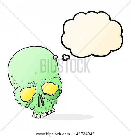 cartoon spooky old skull with thought bubble