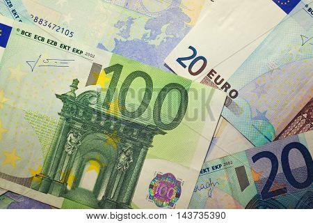 Euros - vintage 100 and 20 euro