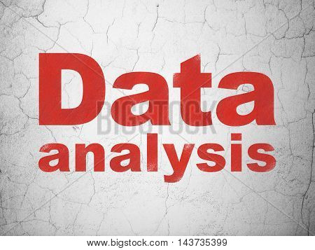 Information concept: Red Data Analysis on textured concrete wall background