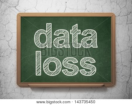 Information concept: text Data Loss on Green chalkboard on grunge wall background, 3D rendering