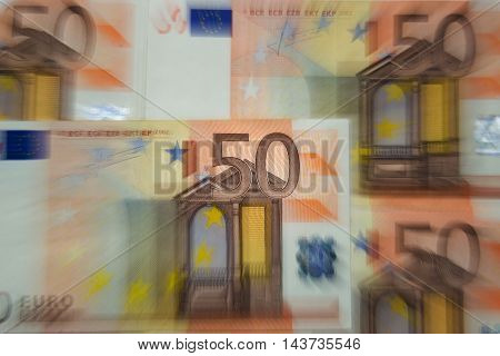 Zoom / blured 50 euros - Finance concept