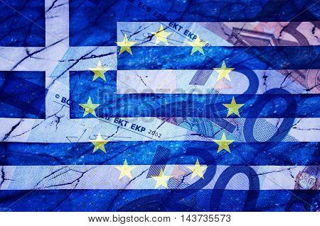 Greek flag, Eu flag, Euros and cracks - Finance concept
