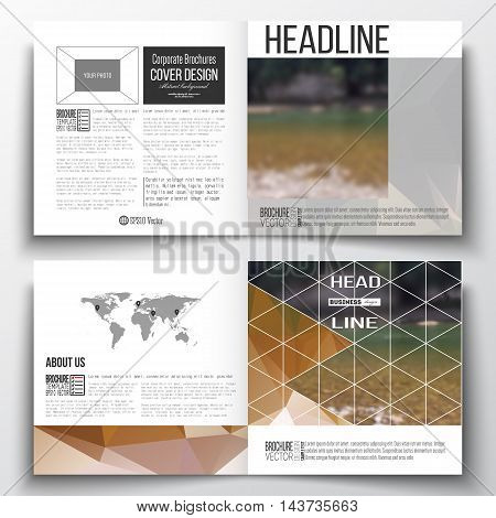 Vector set of square design brochure template. Colorful polygonal backdrop, blurred natural background, modern stylish triangle vector texture.