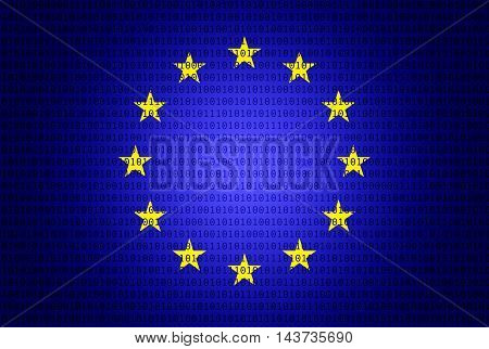 Eu flag with binary numbers - technology concept