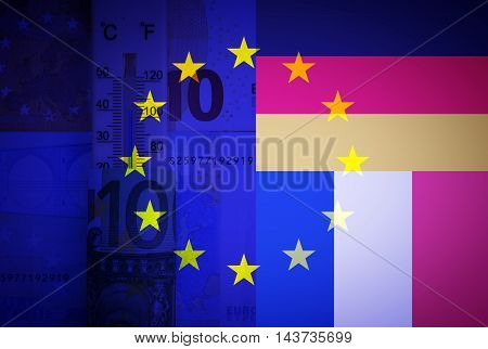Eu flag, French flag, German flag, thermometer and euros - Finance/Business concept