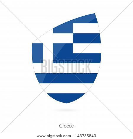 Flag Of Greece In The Style Of Rugby Icon.