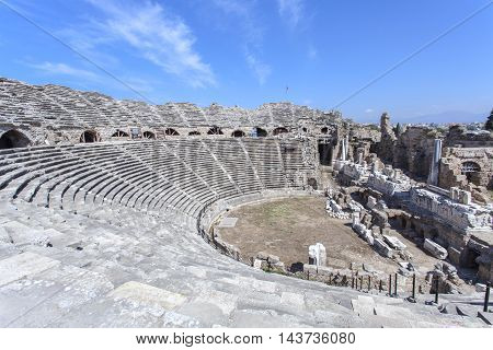 Theater of the ancient city of Side in Turkey in Antalya.