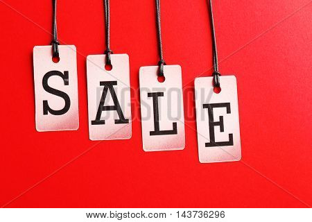 Sale labels on color background
