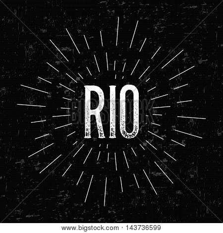 Abstract creative vector design layout with text - Rio. Vintage concept background, art template, retro elements, logo, labels, layout, badge, old banner, card. Hand made typography word.