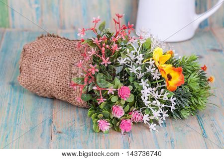 Bouquet of flowers  set display on wood background