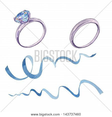 Wedding band set with diamond and ribbon. Watercolor painting. Work Manual. Perfect for decoration of wedding invitations, posters and packaging.