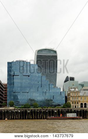 LONDON UK-JULY 8 2016: Northern & Shell Building at Lower Thames Street over the river Thames - a British publishing and television group.