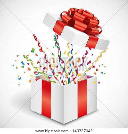 Open gift with fly streamer and confetti 3d illustration