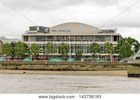 LONDON UK - JULY 8 2016: The Royal Festival Hall built as part of the Festival of Britain national celebrations in 1951 is still in use as a major music and entertainment venue.