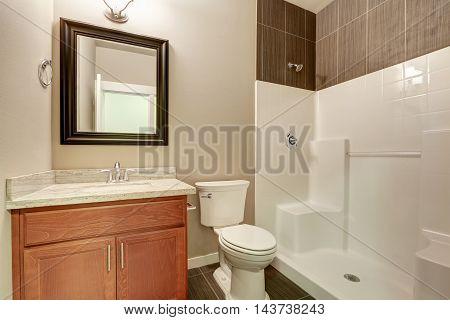 Interior Of Modern Bathroom. Vanity With Marble
